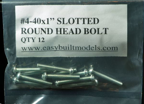 "#4-40 x 1"" Slotted Round Head Bolt"