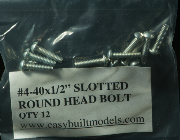 "#4-40 x 1/2"" Slotted Round Head Bolt"