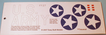 TissueCal markings for kit FF27 Bell P-39 Airacobra
