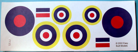 markings for kit FF25 Spitfire