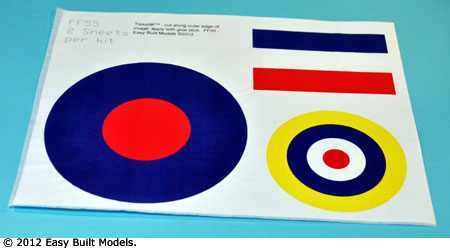 markings for kit FF55 Spitfire Mk 1A